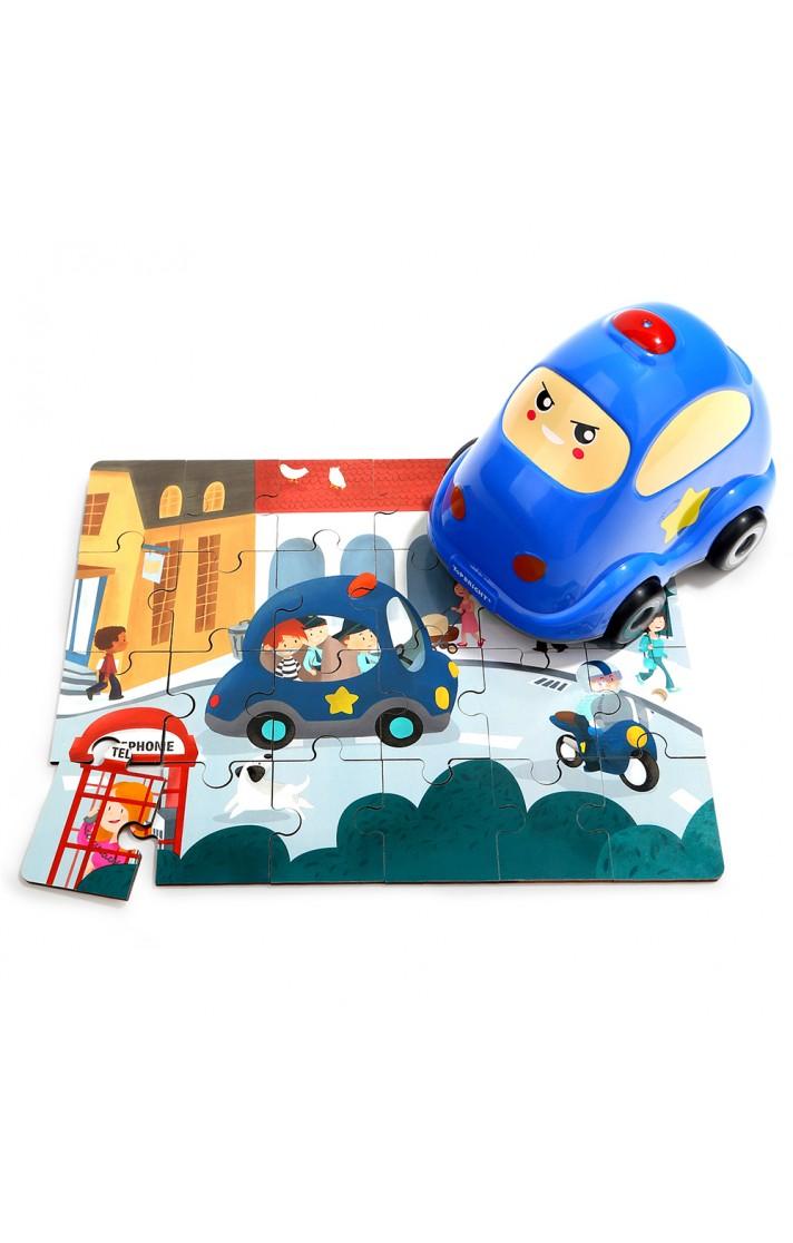 【Top Bright 】木頭玩具_警車造型隨身拼圖
