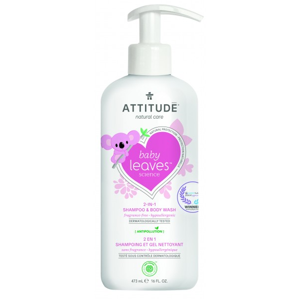 加拿大 ATTITUDE 艾特優_嬰幼兒2合1洗髮沐浴露-無香味 AL16615(效期:2021年7月26日)